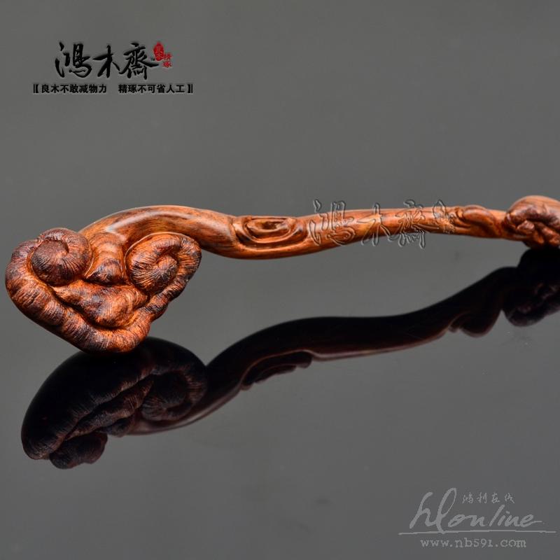 百吉雕刻如意海南黄花梨木雕小摆件小把件海黄如意H1767 (5).JPG