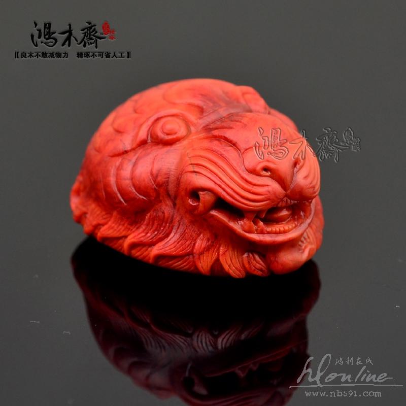 四川凉山南红柿子红雕刻吊坠虎头九口料虎头南红大吊坠N32 (6).JPG