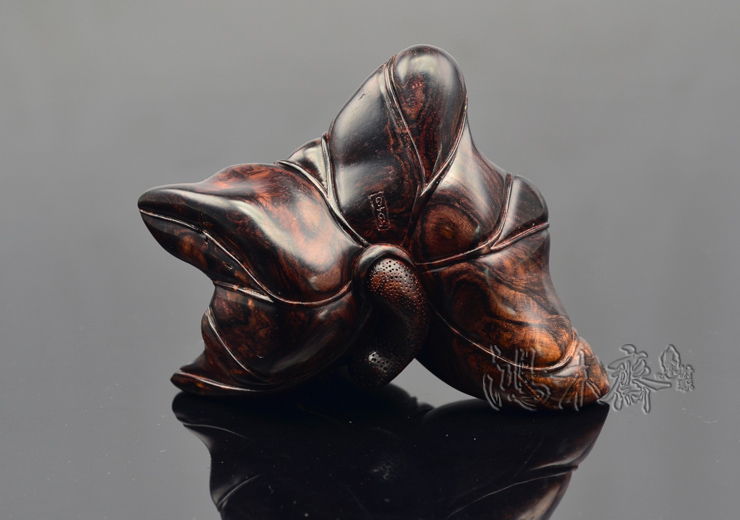 百吉雕刻荷叶紫油梨沉水小摆件孤品H3417 (6).JPG